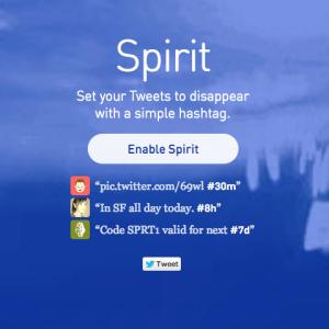 Avec Spirit, vous décidez dans combien de minutes, jours ou heures votre message disparaîtra de Twitter