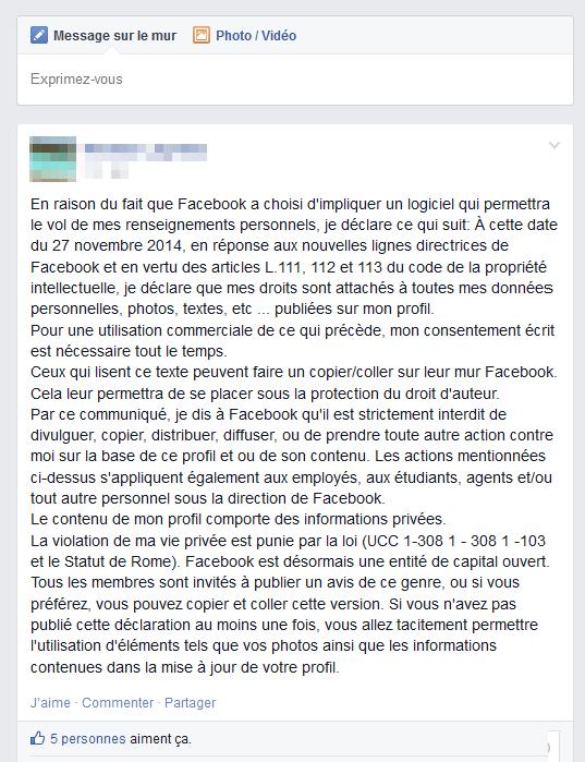 Statut Facebook sur la propriété intellectuelle et les données personnelles