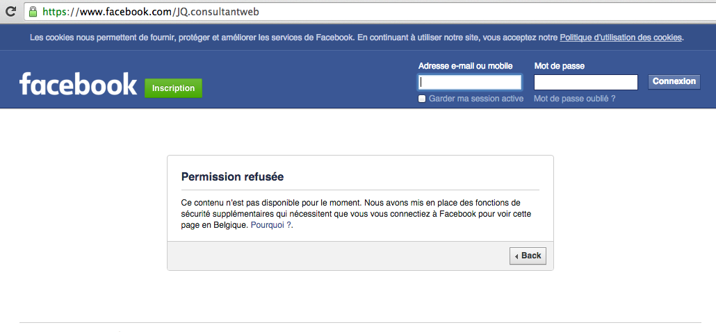 Page Facebook bloquée